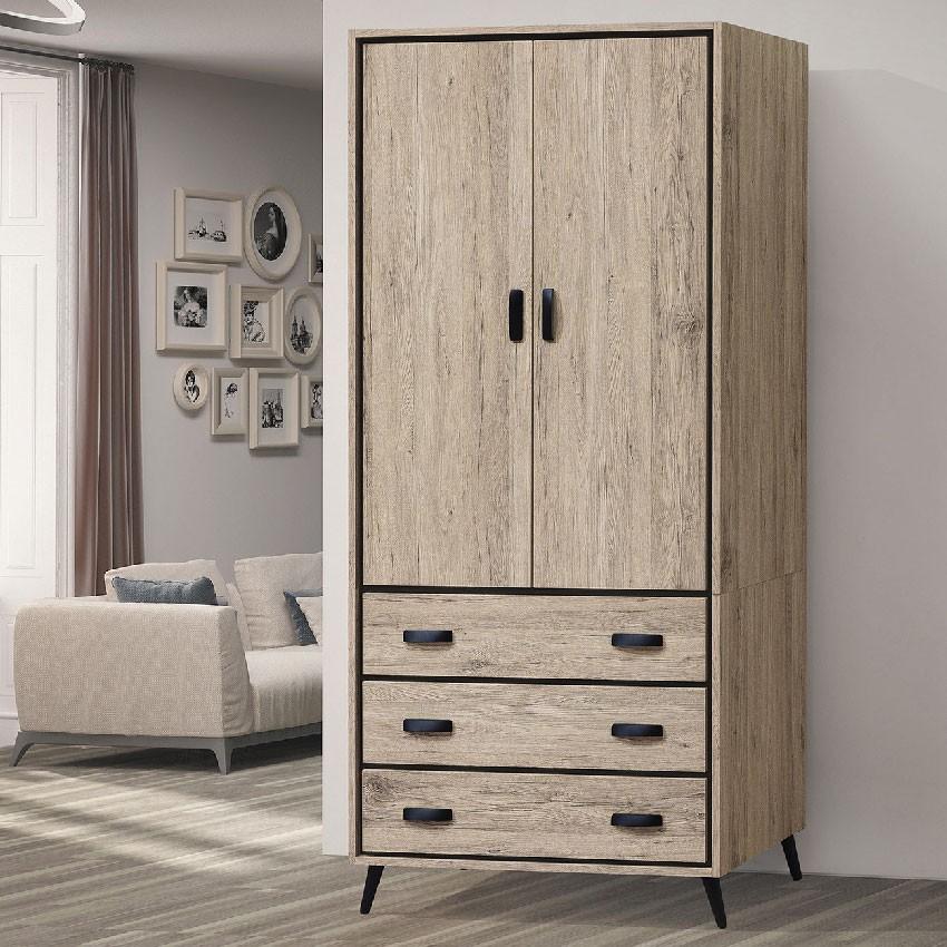 【83cm衣櫃-E199-3】木心板 推門滑門開門 衣服收納 免組裝 【金滿屋】
