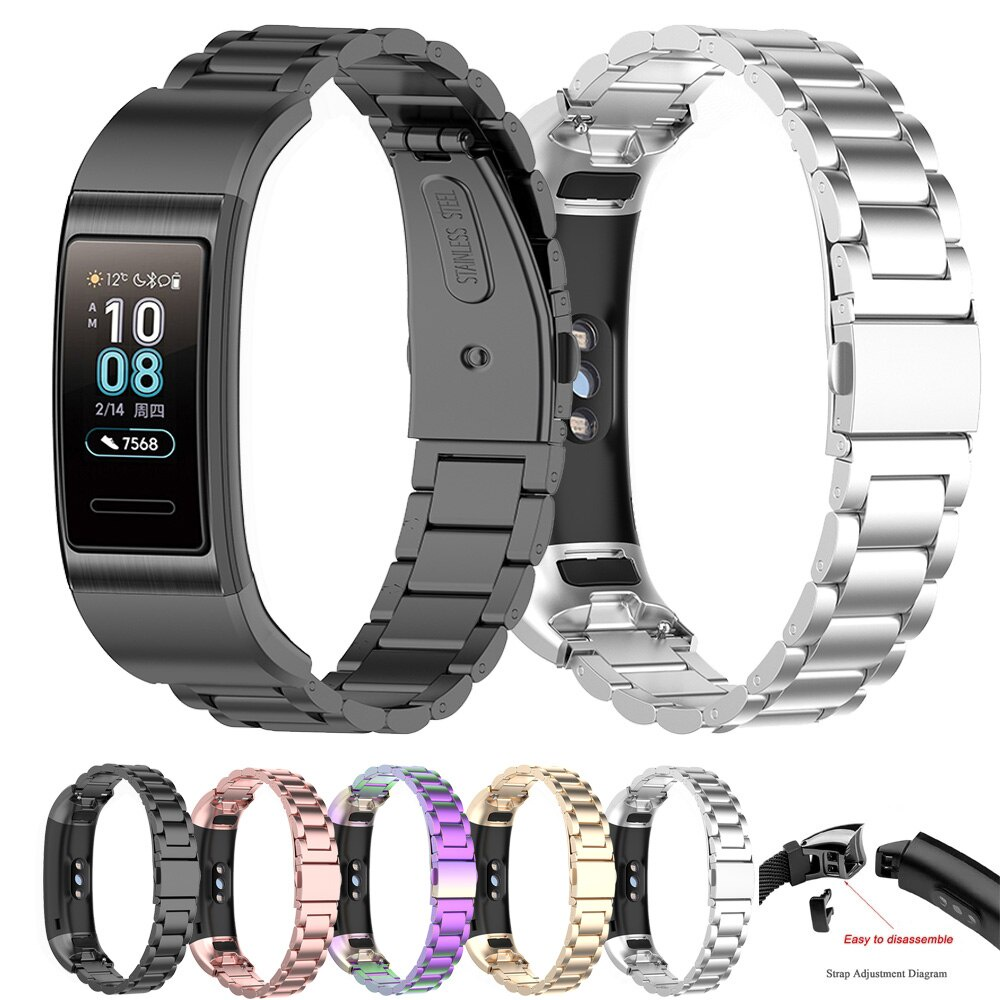 適用於 Huawei Band 4 Pro TER-B29S / Band 3 Pro 智能手鍊錶帶不鏽鋼錶帶錶帶腕帶