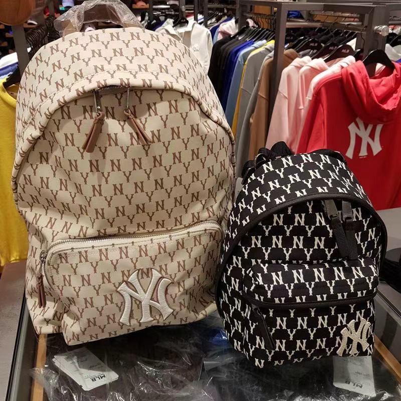 韓國代購 MLB  NY 洋基隊滿版字母 背包 小背包 後背包 雙肩包 肩背包 mlb書包 百搭 大號 小號