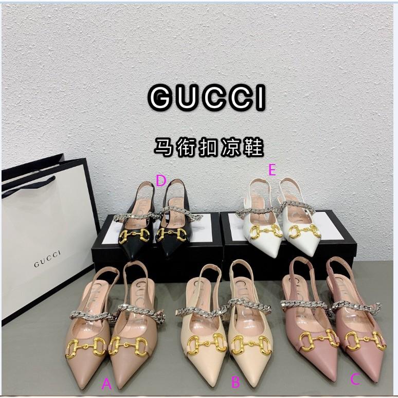 Gucci 2020夏真皮金屬馬街扣g尖頭鏈條家貓跟後空後帶高跟壹字涼鞋女