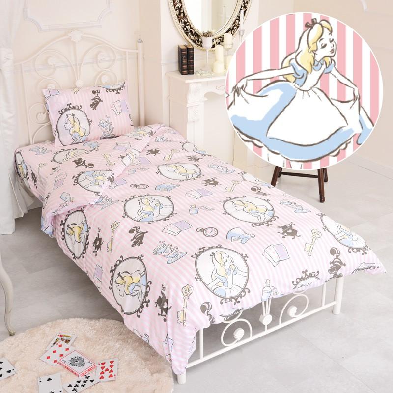 日本代購 迪士尼 disney 愛麗絲夢遊仙境 粉紅條紋 單人床包 三件組 床單 被套 枕頭套 超可愛推薦