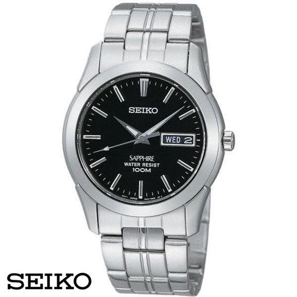 SEIKO 精工錶 全日製星期日期顯示鋼帶男錶 35mm黑 藍寶石水晶鏡面 公司貨 SGG715J1 高雄名人鐘錶