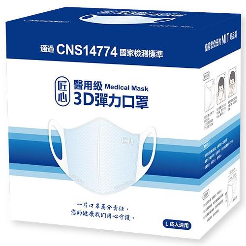 匠心醫用級 3D 彈力成人口罩(藍) 50入/盒【愛買】