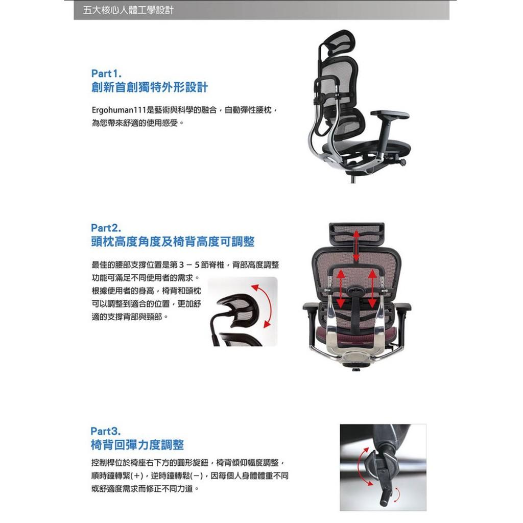 Ergohuman 111 單桿旗艦版+Ergohuman 111 豪優 人體工學椅 久坐首選 電腦椅 電競椅