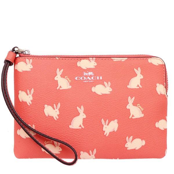 COACH 93053 零錢包 手機包 手拿包 兔子 防刮PVC皮革 L型拉鍊 零錢包 手機包 手拿包 (現貨)