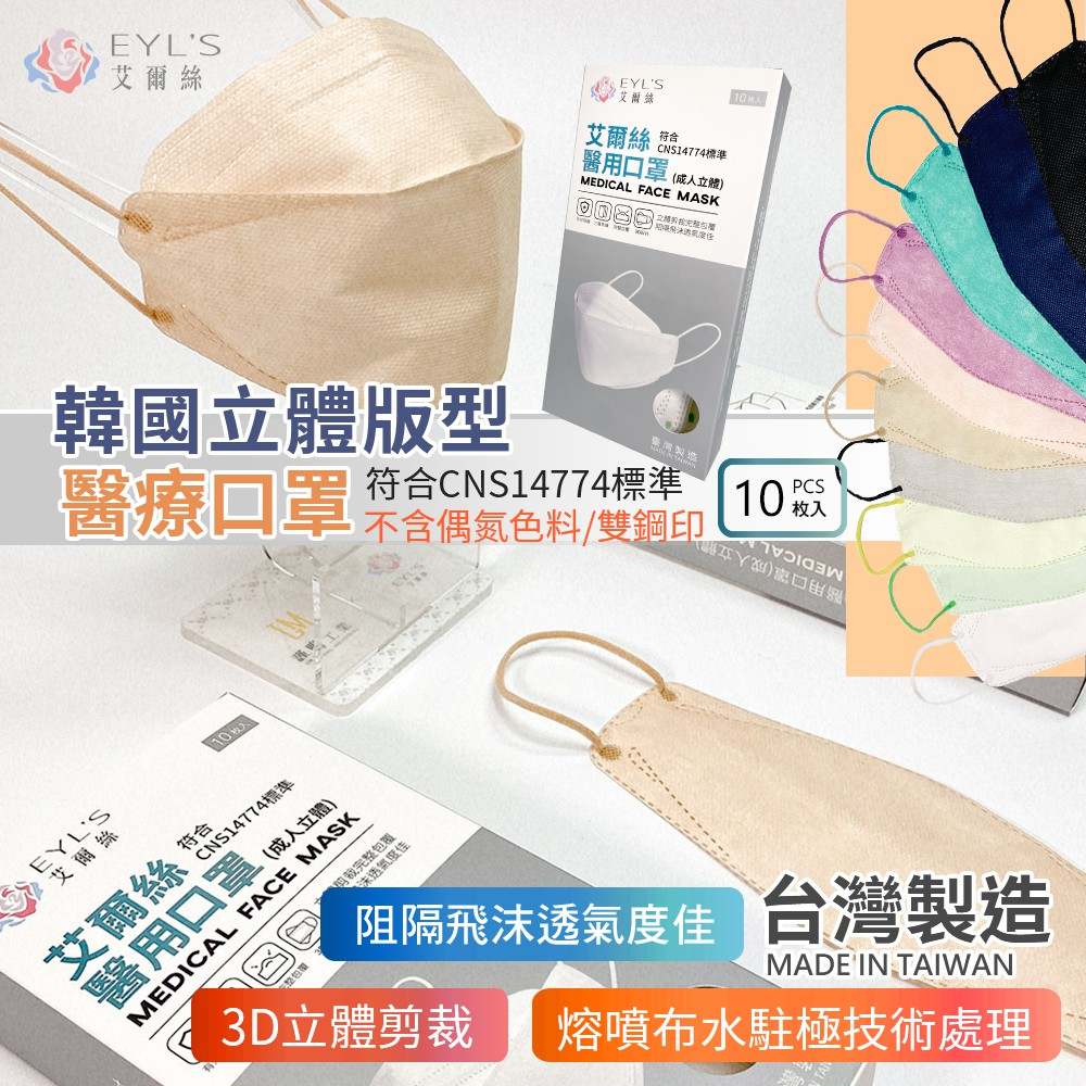 艾爾絲立體口罩【10入】【立體醫療口罩】KZ0031▸韓版立體口罩▸4D立體口罩▸立體口罩▸彩色立體口罩▸3D醫療口罩
