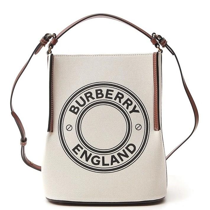 Burberry 80268241 小型標誌圖案棉質帆布 Peggy 水桶包