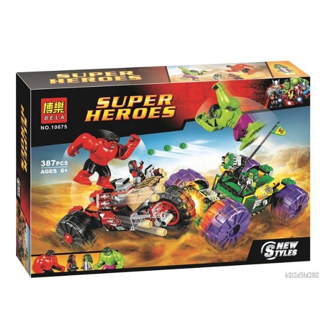 熱賣ღ兼容樂高ღ超級英雄復聯4綠巨人對戰紅巨人76078拼裝積木玩具10675ღ 甜酷寶精選