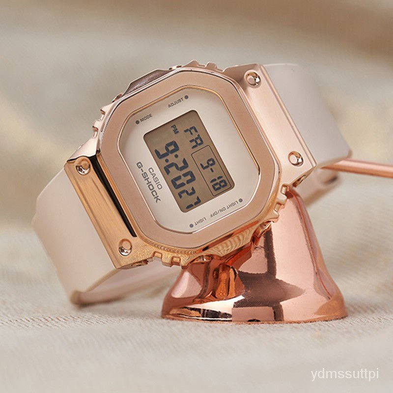 限時下殺 卡西歐金屬錶殼G-SHOCK玫瑰金經典小方塊Casio手錶女GM-S5600PG-4 現貨下殺 Pmpo