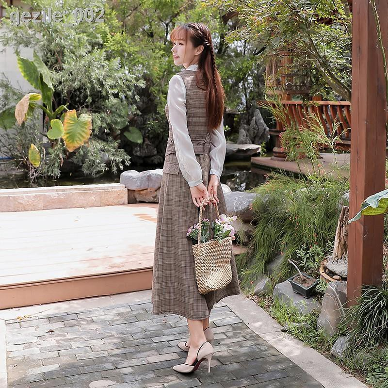 現貨實拍✢✼♟中式新款復古文藝民國風格子馬甲秋裝女套裝兩件套修身連衣裙氣質