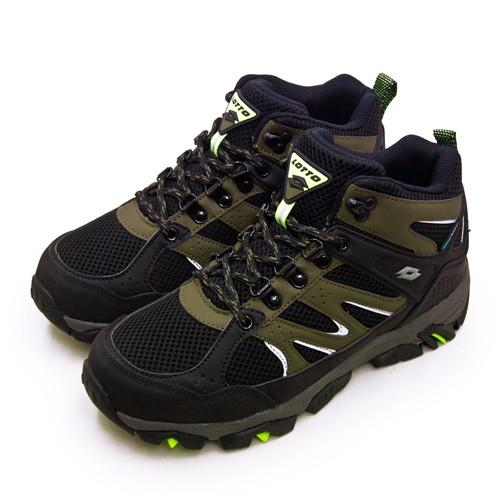 【LOTTO】專業多功能防水郊山戶外健行登山鞋 SABRE MID 3系列 黑軍綠 1255 男