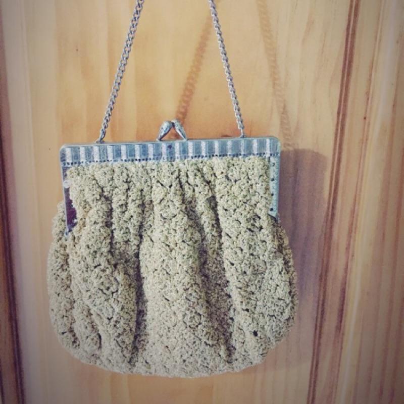 古著編織手提包-金蔥