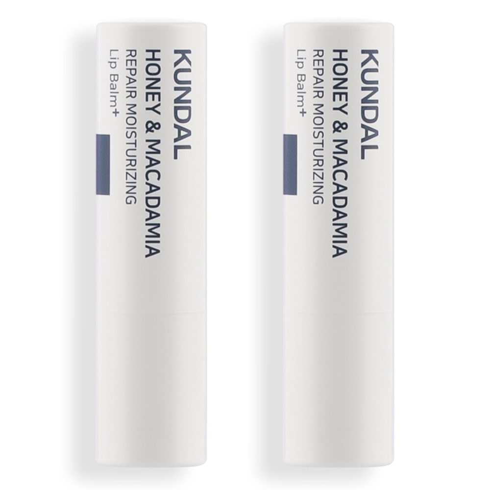 韓國 KUNDAL昆黛爾 蜂蜜&澳洲堅果 保濕修護護唇膏 (2支套組)