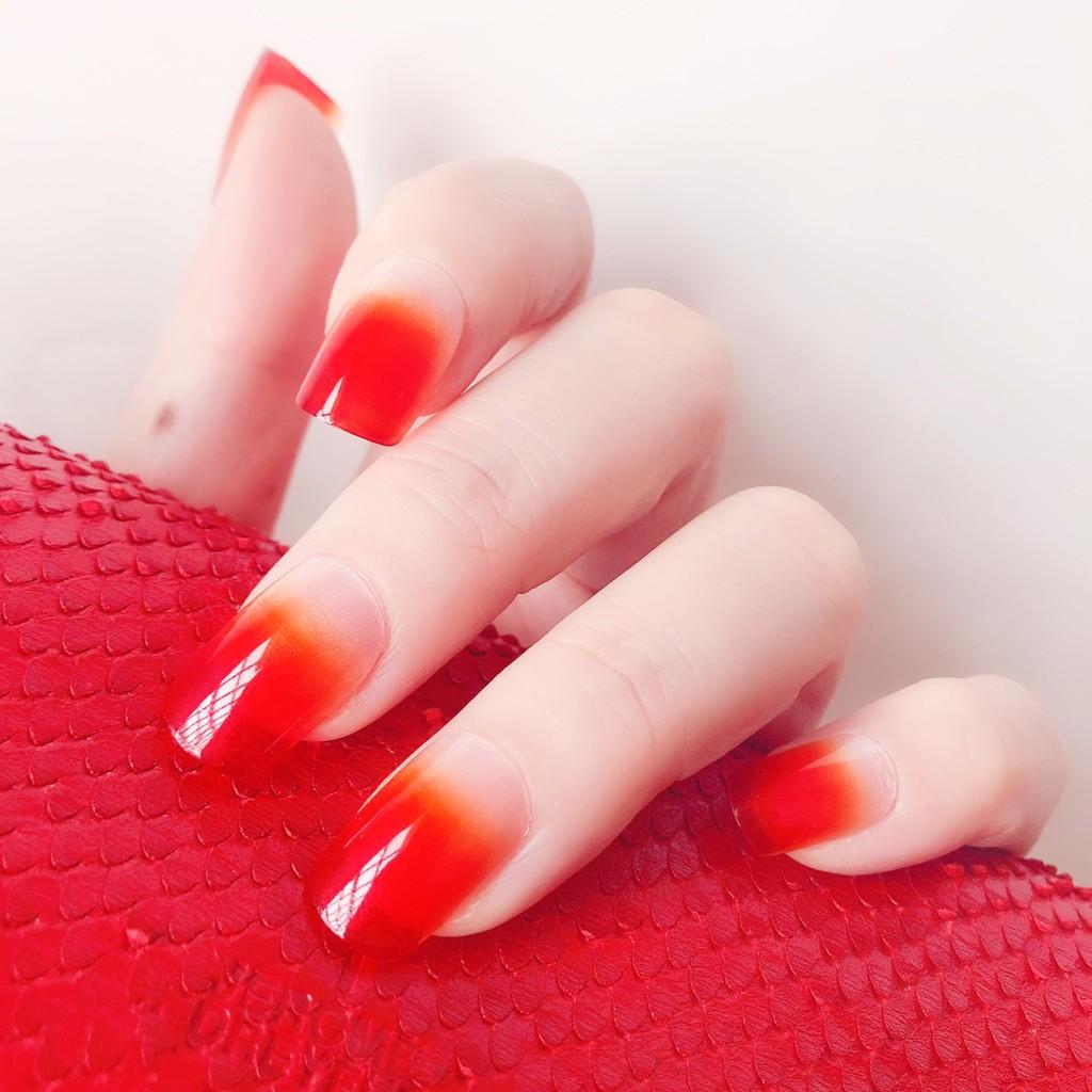 指甲貼片 NC626 方頭純色漸變-橘紅色 成品美甲【買1送5配件】