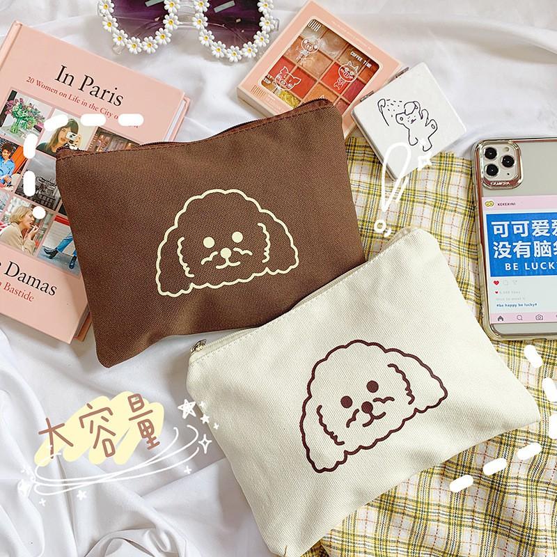 【zhuzhu】日韓卡通小狗印花帆佈包韓版ins手提袋日用品收納包手提袋手拿包
