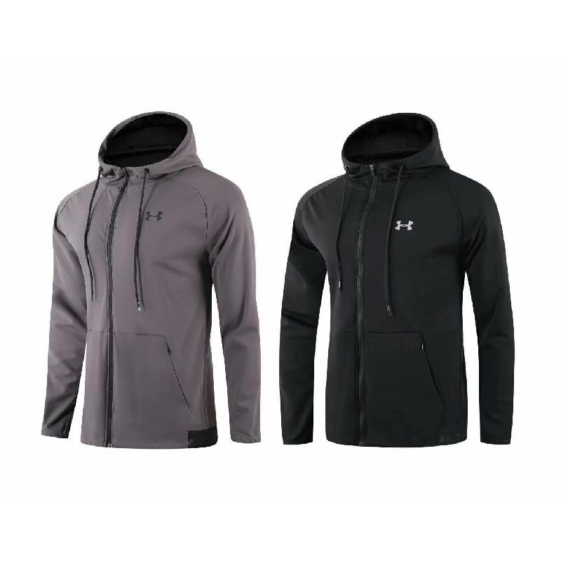 UA安德瑪男子連帽休閒運動開胸衝鋒衣秋季戶外保暖拉鏈跑步外套