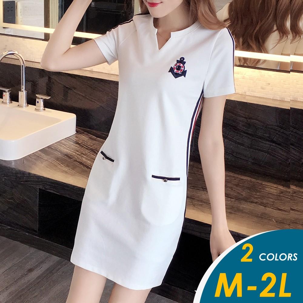 【現貨】韓系運動風船錨圖騰滾邊配色短袖連身裙1068【俏可】