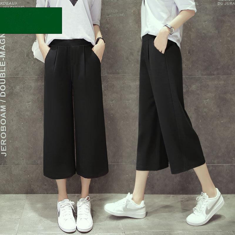 S-3XL碼 闊腿褲女春季2019新款韓版寬鬆雪紡休閒直筒7分高腰女褲 黑色直筒長褲輕薄顯瘦 女生衣著