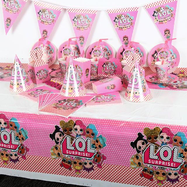 LOL SURPRISE 哈哈驚喜娃娃主題生日派對一次性餐具為兒童設置