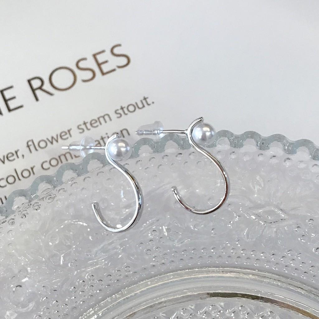 純銀珍珠曲線耳環