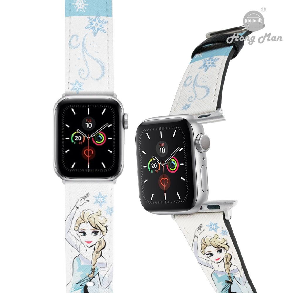 【迪士尼】Hong Man 迪士尼公主系列 Apple Watch 皮革錶帶 手繪風艾莎Elsa