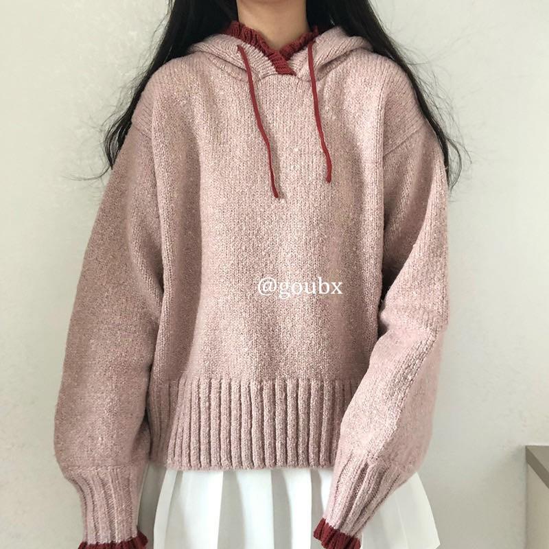 【推薦】2020年秋冬新款花邊長袖系帶針織衫女拼色連帽毛衣寬松慵懶風上衣