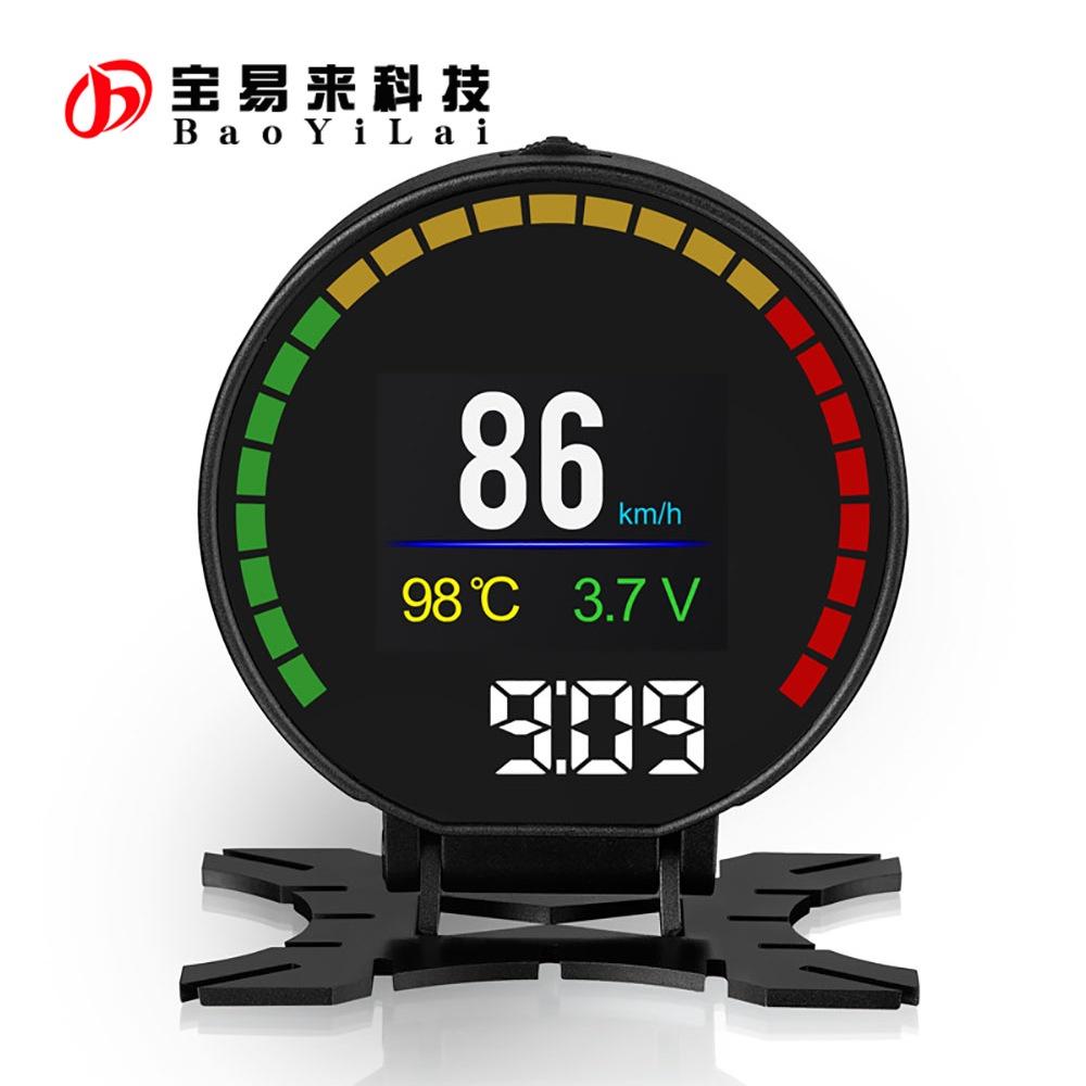 免運*Car OBD Smart Digital Meter HUD 圓形輔助儀錶 時速 平視儀