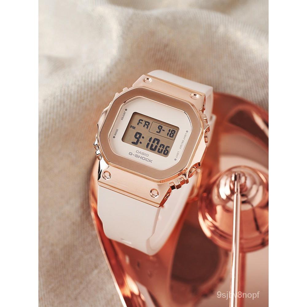 卡西歐手錶女小眾輕奢運動新款G-SHOCK系列玫瑰金腕錶GM-S5600PG