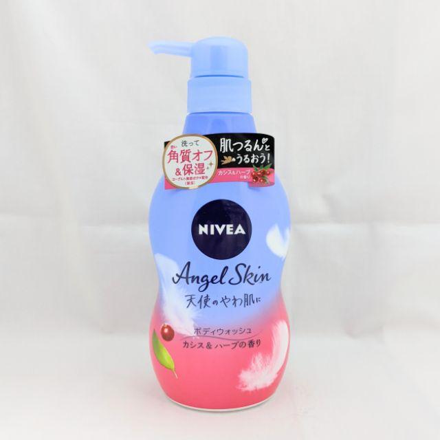 現貨 日本製 NIVEA 去角質  黑醋栗 香草 天然 香精 沐浴乳 480ml