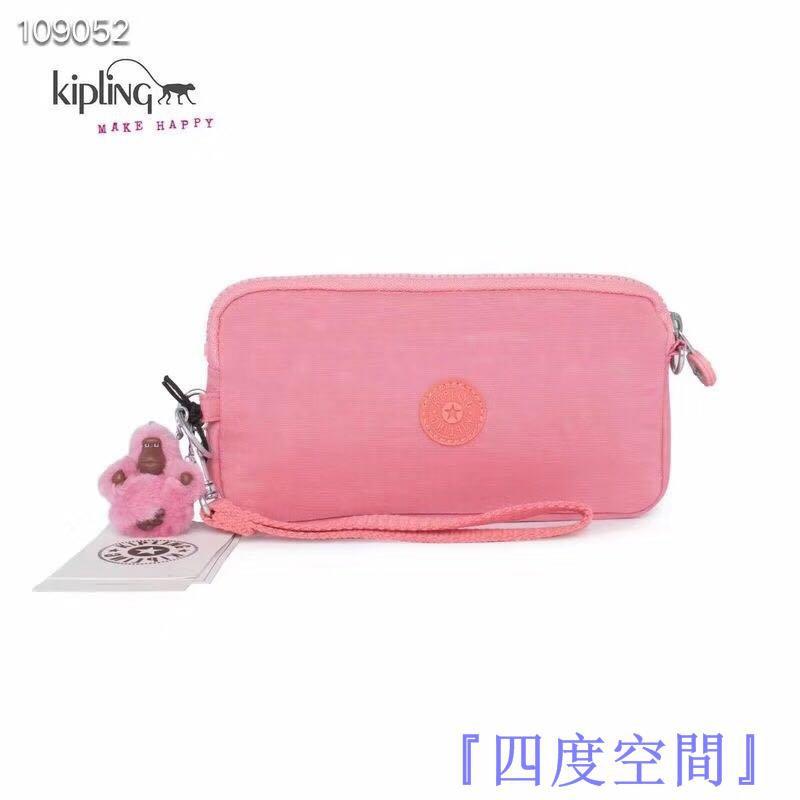 『四度空間』Kipling 猴子包 粉色 K70109 拉鍊手掛包 零錢包 長夾 手拿包 鈔票/零錢/卡包 輕便多夾層