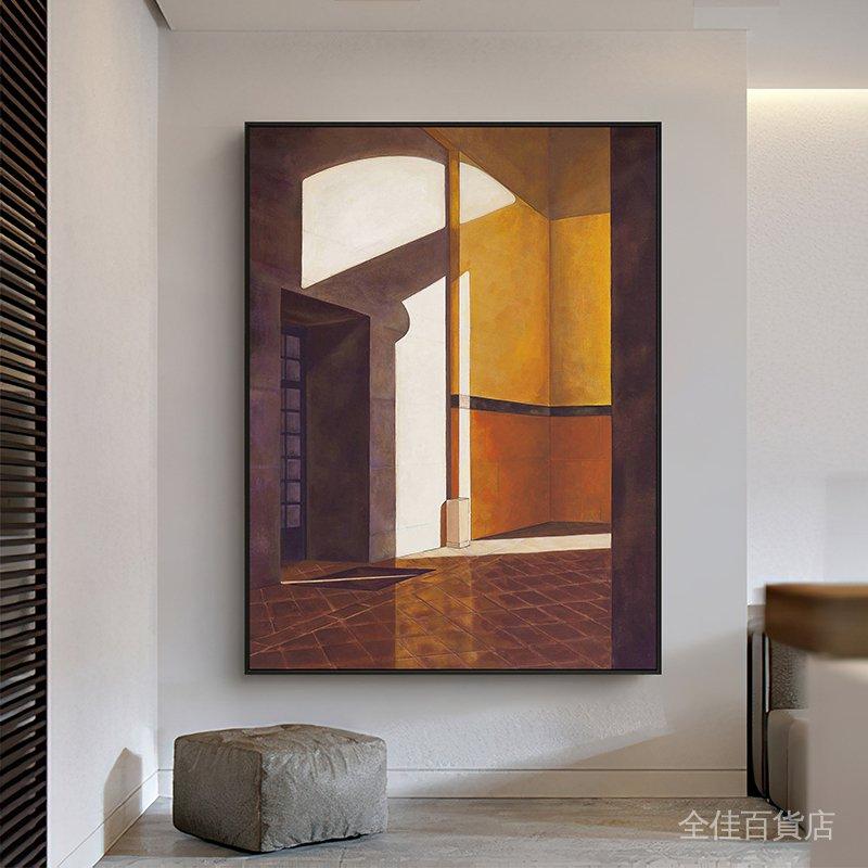 【熱賣】暮色正濃 北歐風格客廳裝飾畫入戶玄關走廊掛畫豎版建筑文藝壁畫