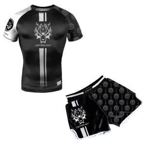 新款 ARFIGHTKING短袖mma搏擊泰拳散打運動柔術T恤UFC綜合格鬥訓練健身二件套