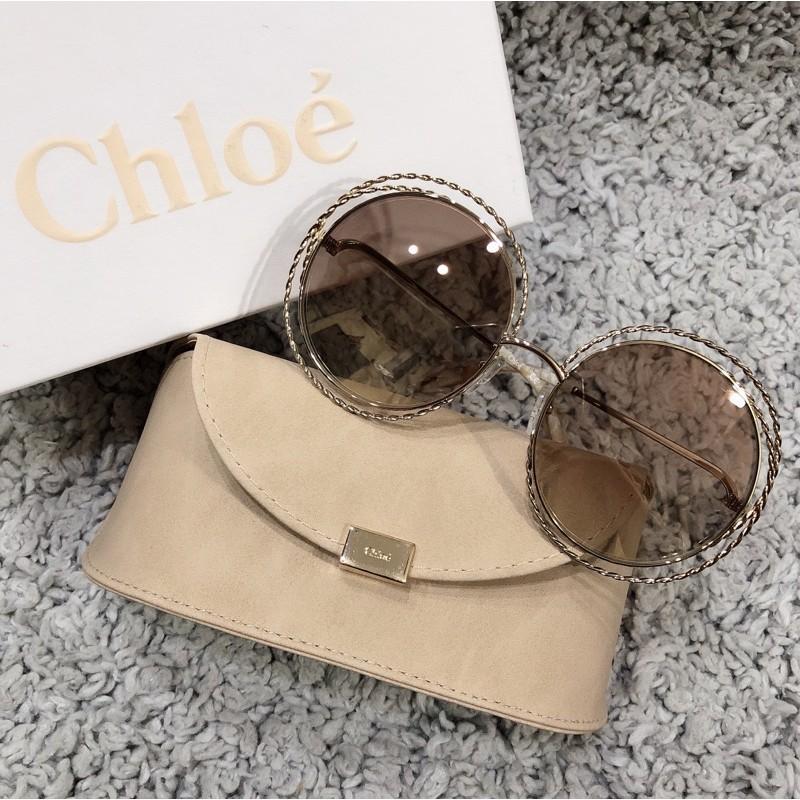 Chloé 螺旋金屬圓形雙框太陽眼鏡