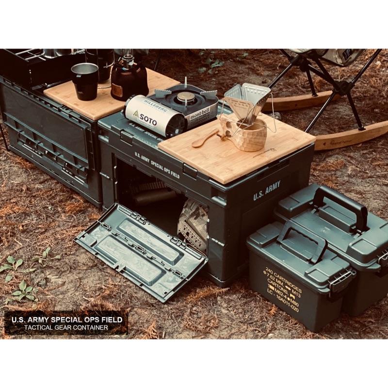 【CampingBar】軍風折疊側開收納箱專用竹桌板(2片一組)
