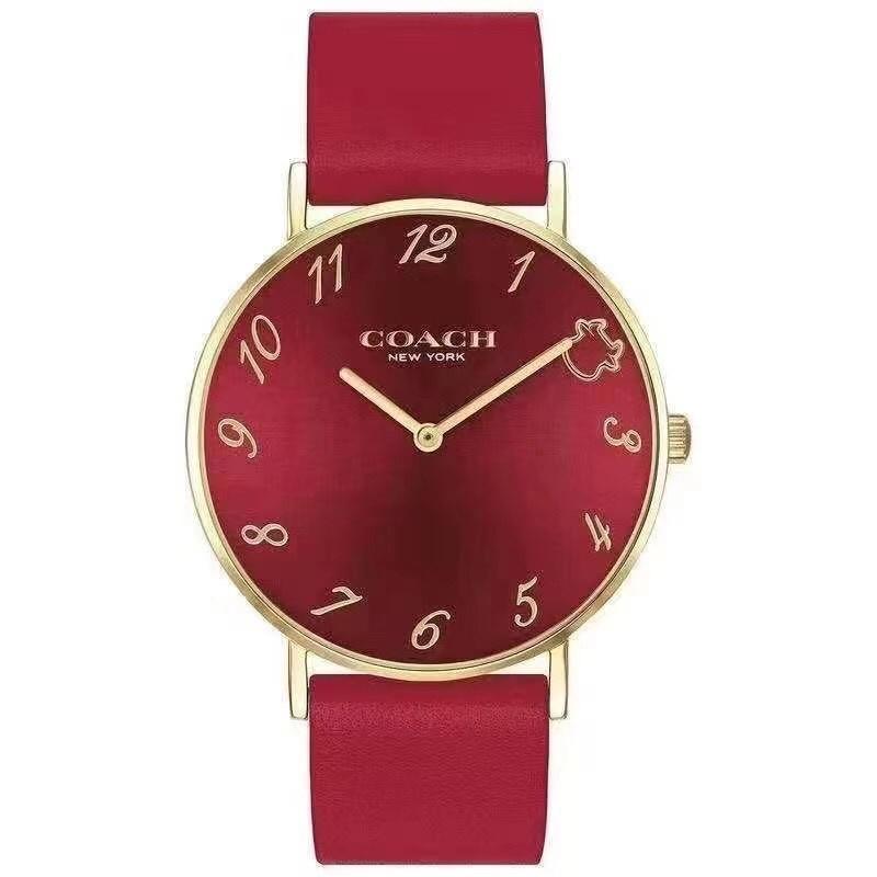 新品限定 COACH 蔻馳手錶 牛年限量款 石英錶 情侶手錶 時尚腕錶 針扣 紅色 36mm 附全套包裝