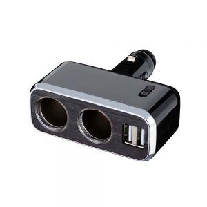 車之嚴選 cars_go 汽車用品【FCL-175】2.4A雙USB+雙孔直插可調式鍍鉻點煙器電源插座擴充器