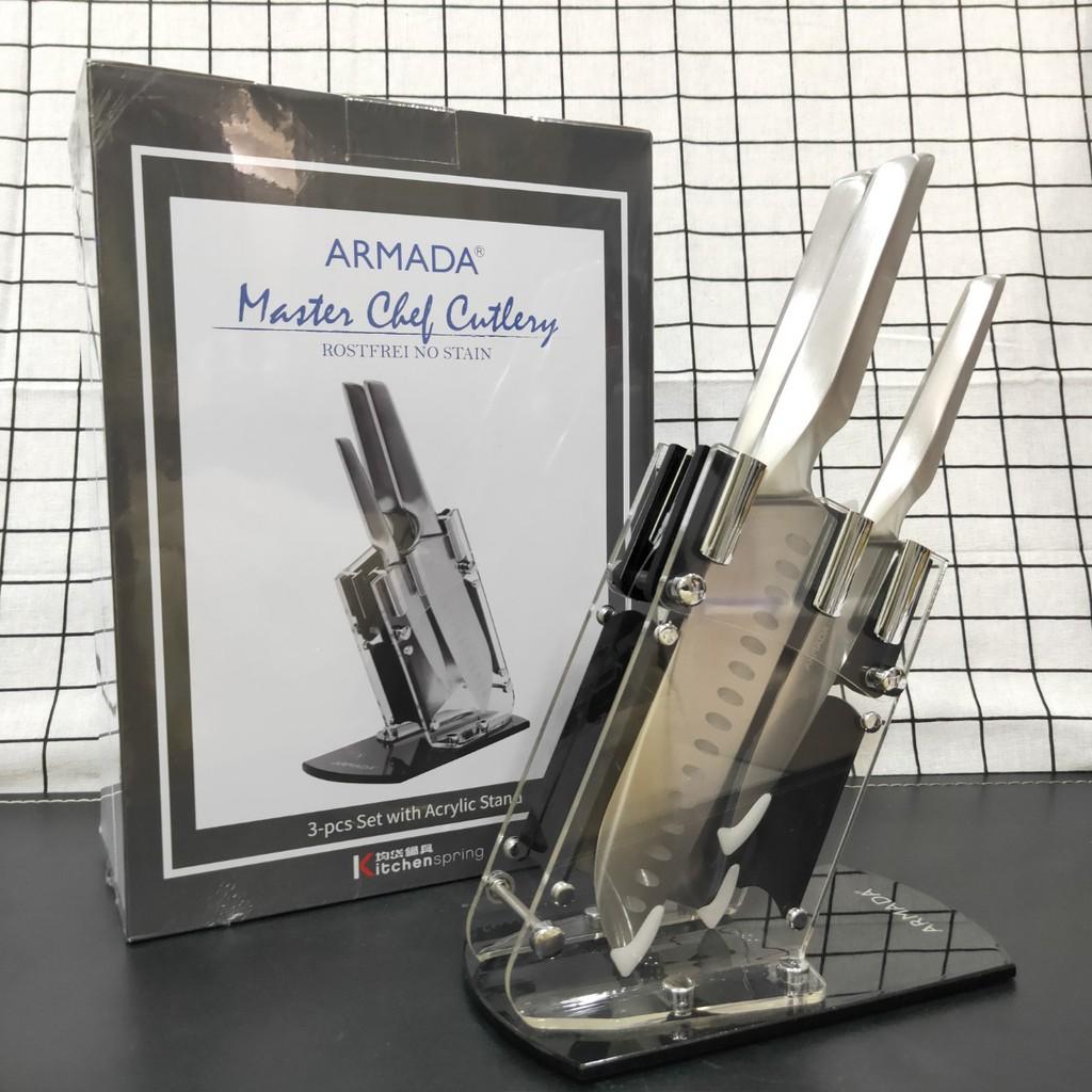 ARMADA第二代 3件式不銹鋼柄刀具組(含透明刀架座) 刀具組 刀子 菜刀 主廚刀 萬用刀 水果刀 剁刀 主廚系列