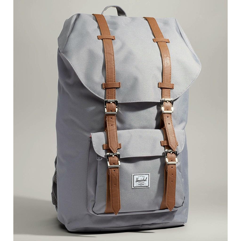 Herschel Little America 大型 灰色 磁扣 皮革帶 筆電層 大容量 帆布 後背包 背包 現貨