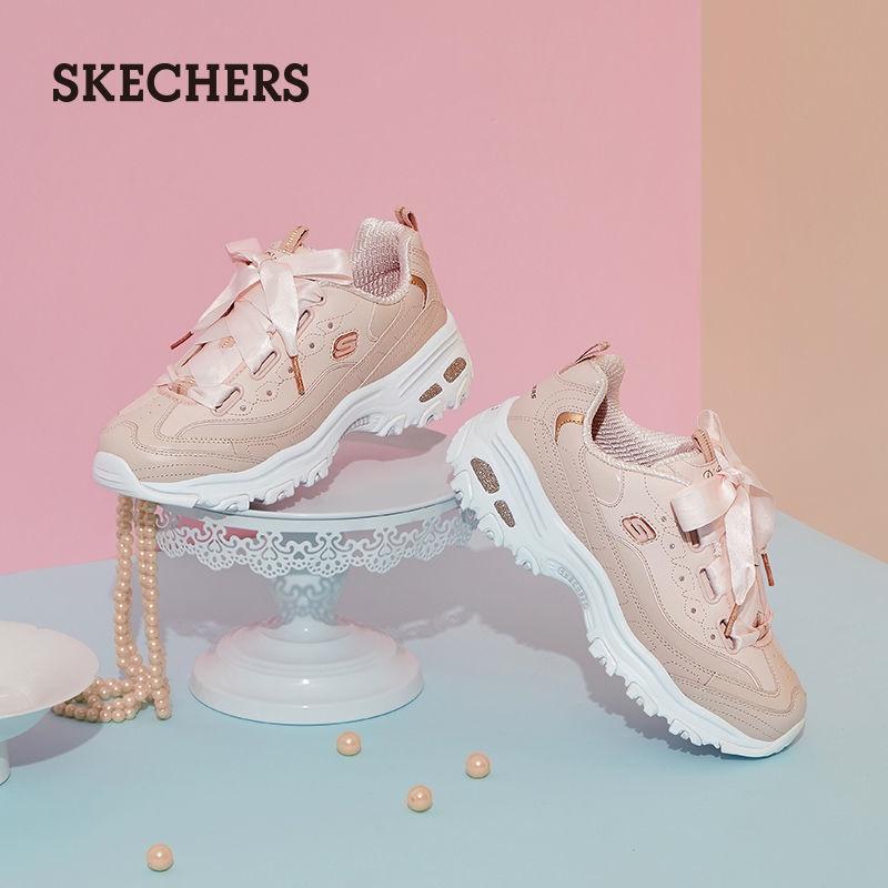 Skechers斯凱奇女鞋蝴蝶結低幫厚底老爹鞋天使鞋小白鞋運動鞋子