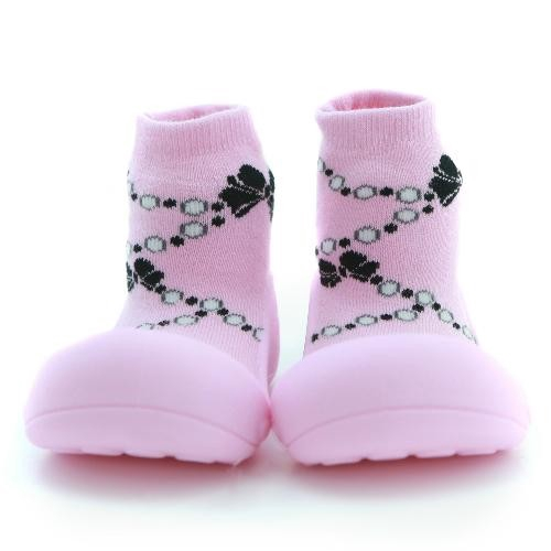 Attipas 快樂腳襪型學步鞋-粉紅貴婦