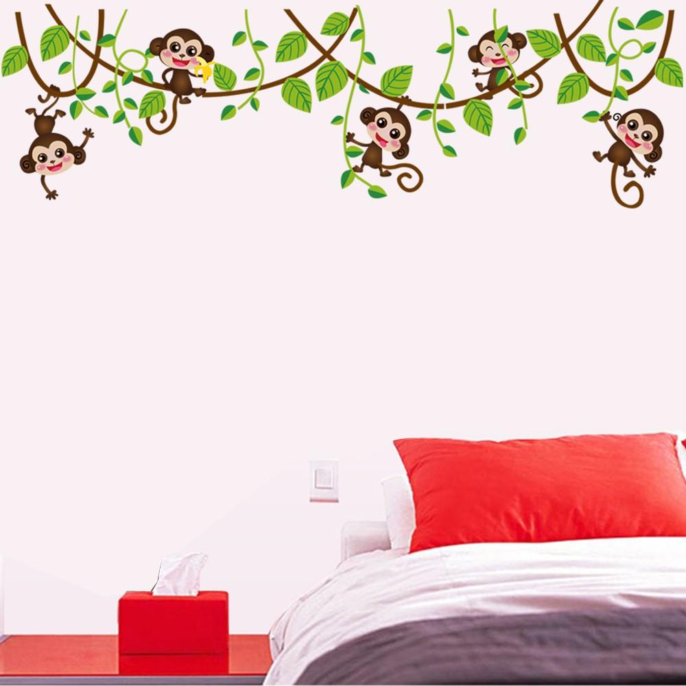 【五象設計】動物壁貼 可愛猴子 爬樹貼畫 壁貼 牆紙 家居裝飾 兒童房裝飾 牆貼紙 環保壁貼 牆壁藝術