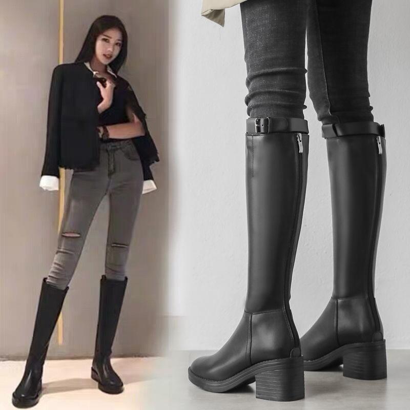 ™❁☂真皮不過膝長靴女2020秋冬新款百搭小個子后拉鏈長筒靴高筒騎士靴