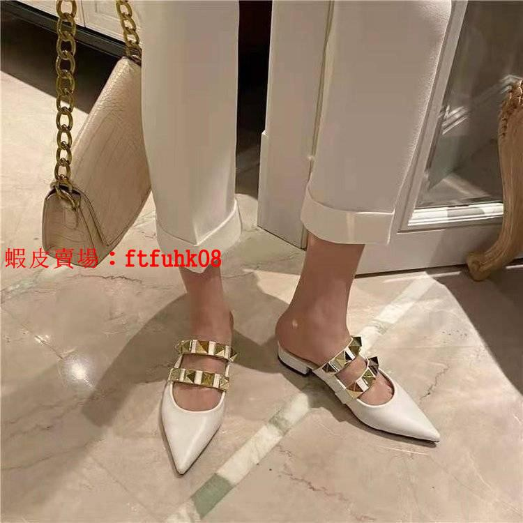 【年終特價】35-43碼 大碼女鞋41肥腳尖頭淺口小單鞋女韓版ins潮方跟穆勒鞋