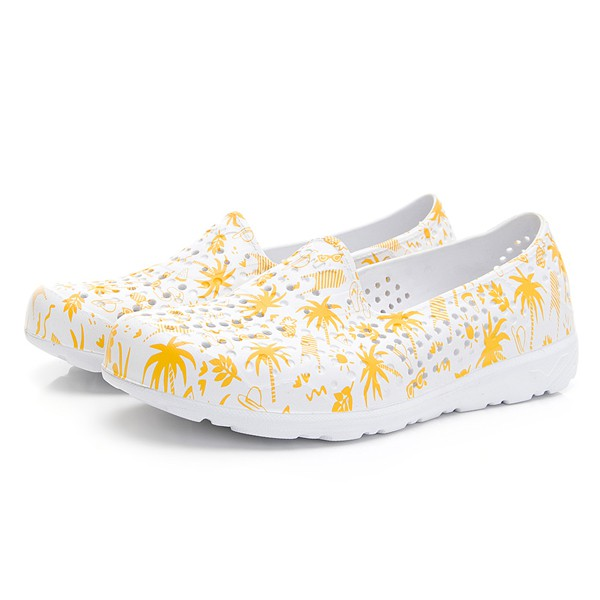 【PONY】女 / TROPIC輕量透氣洞洞鞋 02U1SA08 - 白黃