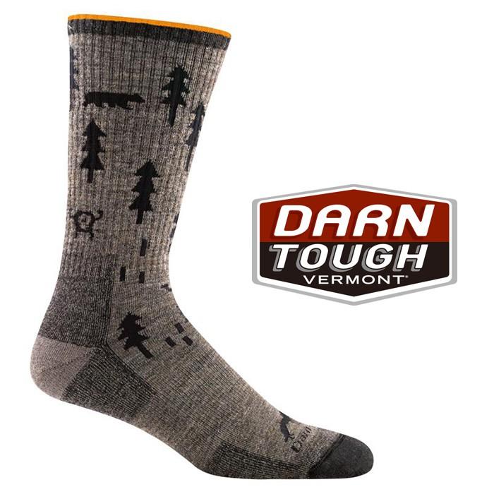 【Darn Tough 美國】羊毛中筒健行襪 美麗諾羊毛襪 運動襪 登山襪 戶外襪 男款 灰褐色 (1964)