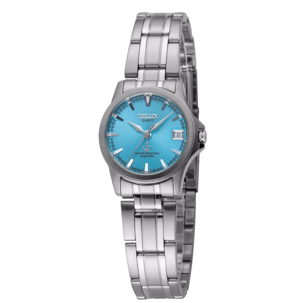 台灣品牌手錶腕錶【TELUX鐵力士】藍色序曲系列腕錶手錶25mm 台灣製造石英錶250123L-S藍綠