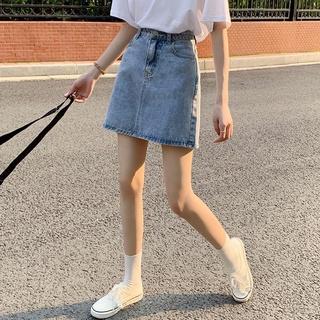 牛仔短裙女 高腰牛仔半身裙 新款ins網紅風格 韓版A字短裙 872