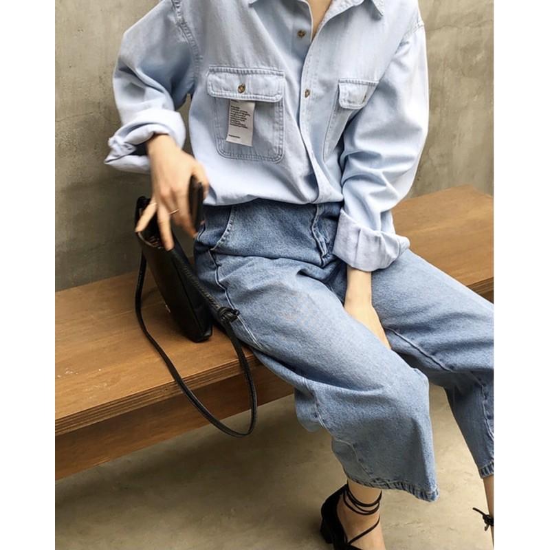 韓 / 3CUT / 水洗藍直筒牛仔寬褲