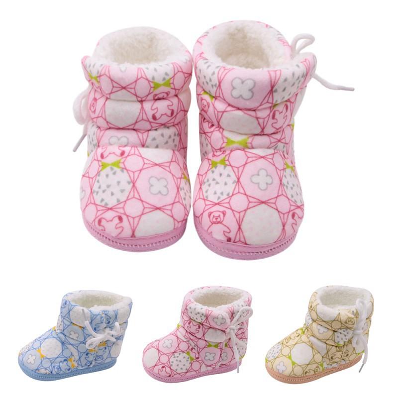 小熊印花棉靴側邊系帶鞋寶寶鞋嬰兒學步鞋【IU貝嬰屋】