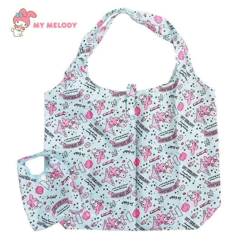 三麗鷗 美樂蒂 【 TW SAS日本限定 】旋轉木馬風版 折疊收納式 購物袋 / 環保袋 / 手提袋 (綠色)